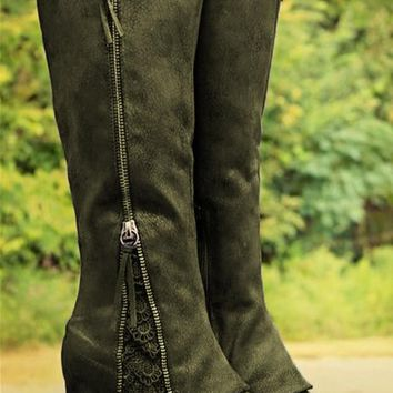 New Army Green Round Toe Zipper Sequin Fashion Knee-High Boots