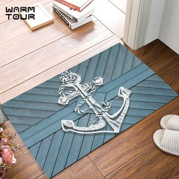 Blue Rustic Wood Board White Anchor Door Mats Kitchen Floor Bath Entrance Rug Mat Absorbent Indoor Bathroom Decor Doormats