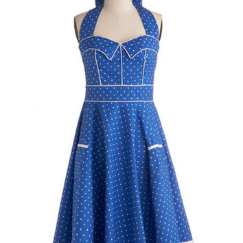Blue Polka Dot Halter Backless A-Line Pleated Mini Dress