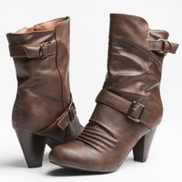 Brown leather short heel boots