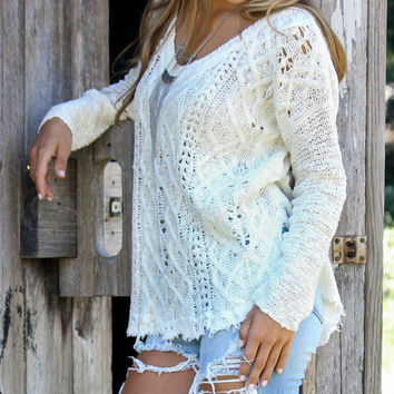 Sweater District Ivory V-Neck Open Knit Sweater With Raw Hem