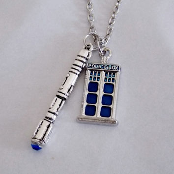 Sonic Screwdriver and TARDIS Necklace. 18 Inch Chain.