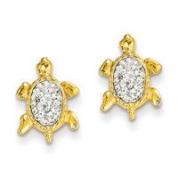 14k Crystal White Turtle Post Earrings YE1543