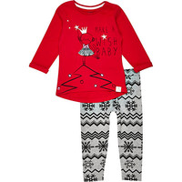 River Island Mini girls red monkey t-shirt and leggings
