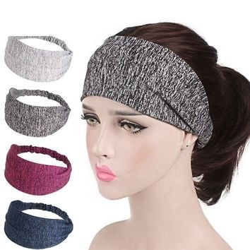 Haimeikang Womens Wide Headband Winter Elastic Sports Bandanas for Women 2018 Gray Black Striped Head Band Hair Accessories