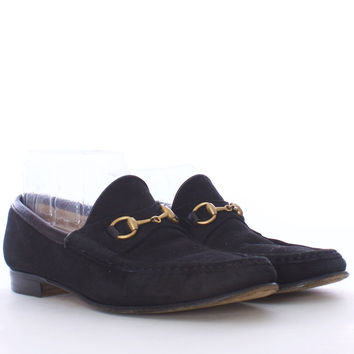 GUCCI Black Suede Mocassino Classic Loafer Size 7 1/2 AA