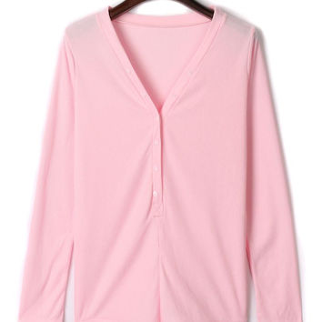 Pink V-neck Buttoned Front Cable Knit Bodysuit