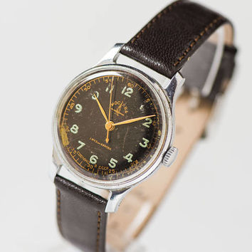Limited edition men's watch Moskva Moscow, black face men's wrist watch, mid century timepiece, Soviet watch rare, new genuine leather strap