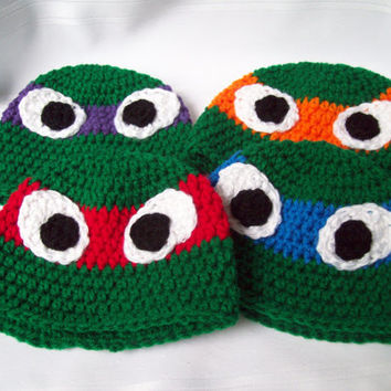Teenage Mutant Ninja Turtles Inspired Crochet Hats, Crochet TMNT Baby Hat, Photo Prop,  Newborn to Six Months