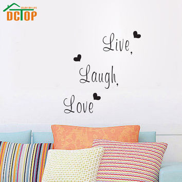 DCTOP Live Laugh Love Family Creative Wall Decals Decorative Wall Decor Removable Vinyl Wall Stickers Home Decoration