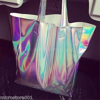 Trendy Hologram Metallic Silver Shopping Bag Shoulder Tote HOLOGRAPHIC Gammaray