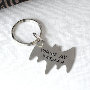 Personalized Hand-Stamped Superhero Keychain- Best Friend Keychain- Batman and Robin