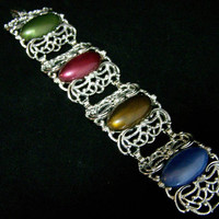 Sarah Coventry Wide Bracelet, Multi Color Lucite Ovals,  Open Work Silver Tone Setting, Signed, Mid Century Jewelry 218