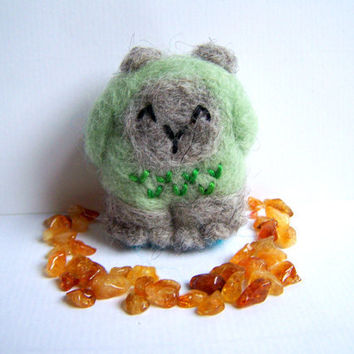 Needle Felted Forest Yeti - Cute Amigurumi Monster Soft Sculpture with Citrine Crystals (Miniature Good Luck Charm)