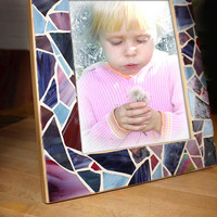 8x10 Photo Mosaic Frame, Purple and Blue Mosaic Picture Frame/Mirror