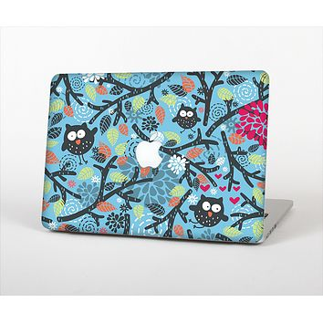 The Blue and Black Branches with Abstract Big Eyed Owls Skin Set for the Apple MacBook Air 13""