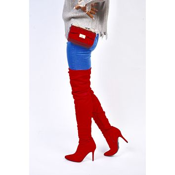 Red Thigh High Slouch Boots