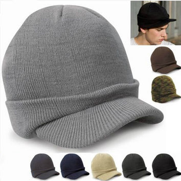 Fashion Army Style Cap Male Warm Winter Hat With Visor Knitted Hats Acrylic Casquette For Women Caps Men 2016 HT51046+35