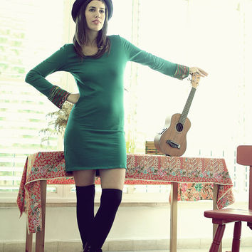 Long sleeves bohemian dress, Open back tunic dress, Boho clothing, Green dress