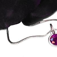 Amethyst Round Circle Pendant 4.5 mm. 14K or 18K gold