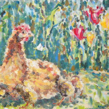 Chicken Oil on canvas Painting Cute Chicks Brown Hen Home Decor Country Art Kitchen Folk Still Life Bird Nursery Original Rooster Artwork