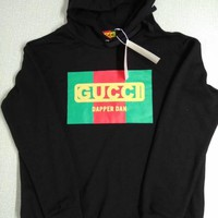 """Gucci"" Fashion All-match Unisex Couple Letter Print Hooded Long Sleeve Sweater Tops"