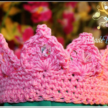 Crochet Jeweled Crown, Dress Up Crown, Baby Photo Prop Crown, Princess Crown, Prince Crown, Heaband Crown, Crochet Tiara