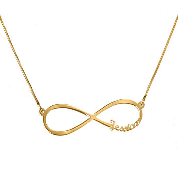 "Small nameplate infinity necklace | 1.6"" name necklace 14k gold plated"