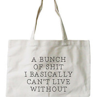 Women's Canvas Bag -Funny Can't Live Without Natural Canvas Tote Bag