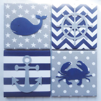 Nursery Wall Decor, Nautical Shapes on Fabric, Nautical Decor, Customized, Nautical Nursery Decor, Upholstered, Whale Crab Anchor Wheel