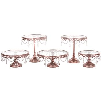 5-Piece Glass Top Crystal Cake Stand Set (Rose Gold)