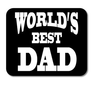 """DistinctInk Custom Foam Rubber Mouse Pad - 1/4"""" Thick - Black White World's Best Dad"""