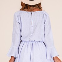 Sunday Breeze playsuit in blue stripe Produced By SHOWPO