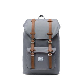 Herschel Supply Co. - Little America Grey Tan Synthetic Leather Mid Volume Backpack