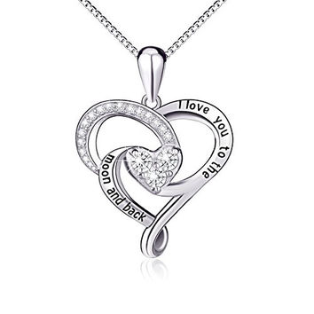 "925 Sterling Silver Jewelry ""I Love You To The Moon and Back"" Love Heart Pendant"