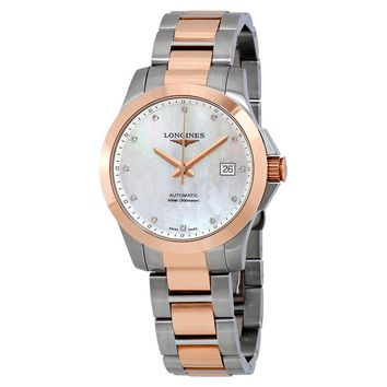 Longines Conquest Mother of Pearl Diamond Mens Watch L3.676.5.87.7