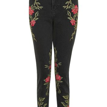 MOTO Rose Embroidered Mom Jeans - Jeans - Clothing