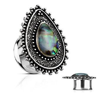 Abalone Centered Tear Drop Top 316L Surgical Steel double Flared WildKlass Tunnel Plugs