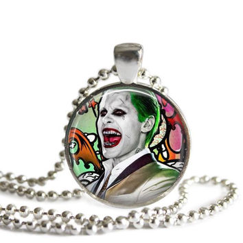The Joker Necklace Suicide Squad Silver Plated Picture Pendant