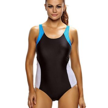 Round neck strap with chest pad close elastic conjoined swimsuit