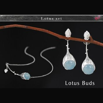 Lotus Fun 925 Sterling Silver Aquamarine Gemstone Luxury Jewelry Sets for Women Double Sided Stud Earrings/Charms Bracelets