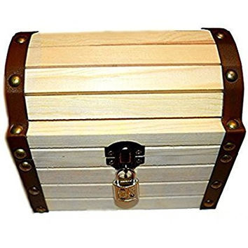 "Wooden Treasure Chest 6.24"" X 5.19"" X 5.14"" with a Working Lock and a Pair of Keys"