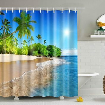 SPA Waterproof Shower Curtain Digital Printing Bathroom Decoration Shocking Landscape Shower Curtains 180*180 CM