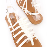 White Strappy Thong Slingback Sandals Faux Leather