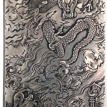 Tibetan Miao Silver DRAGON Thangka Demon Beast Talisman Astrological