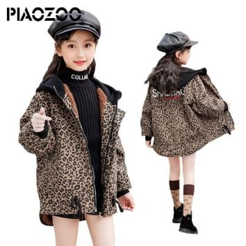high quality Luxury coat winter infant boy clothing Leopard Print girls faux fur hooded long girls winter coats size 14 P20