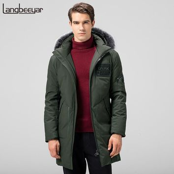 New Fashion Brand Clothing Mens Duck Down Jackets Mens Top Grade Mens Winter Parka With Fur Hood Long Warm Men Winter Coat Men