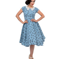 Hell Bunny 1940s Style Blue Vintage Bicycle Penny Lover Swing Dress