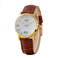 Women's Vintage Retro Business Genuine Leather Band Strap Watch Brown