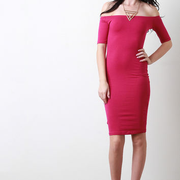 Off-The-Shoulder Elbow Sleeves Bodycon Midi Dress